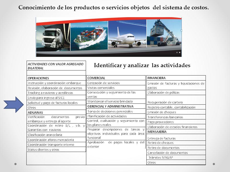 Conocimiento de los productos o servicios objetos del sistema de costos.