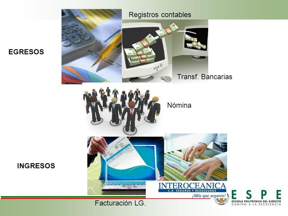 Registros contables EGRESOS Transf. Bancarias Nómina INGRESOS Facturación LG.