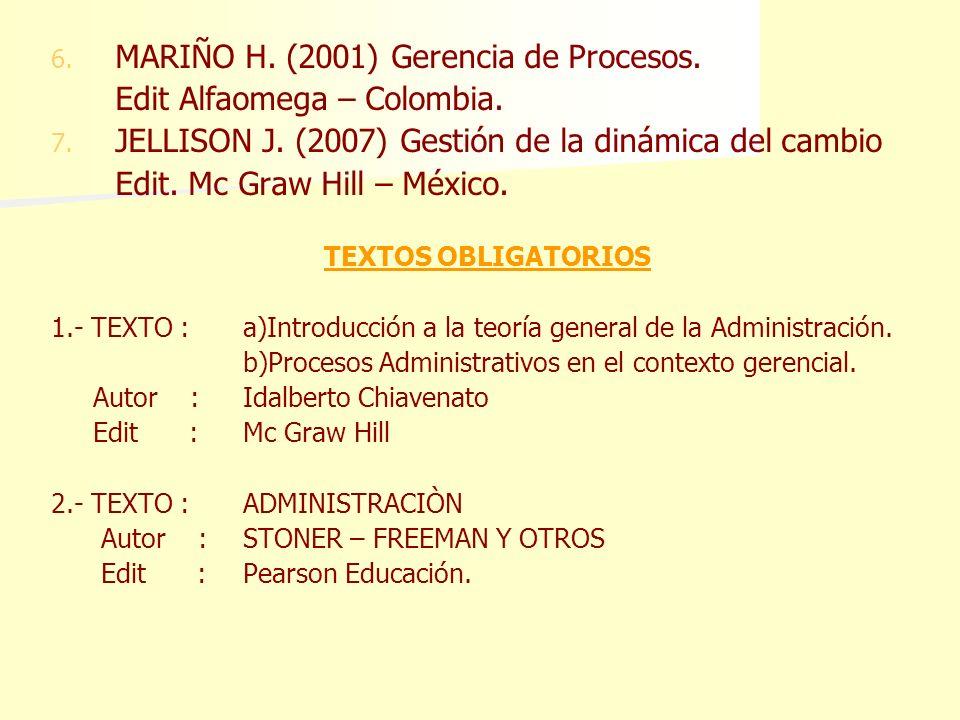 MARIÑO H. (2001) Gerencia de Procesos. Edit Alfaomega – Colombia.