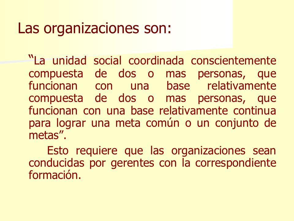 Las organizaciones son: