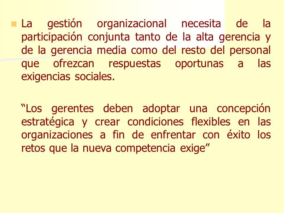 La gestión organizacional necesita de la participación conjunta tanto de la alta gerencia y de la gerencia media como del resto del personal que ofrezcan respuestas oportunas a las exigencias sociales.