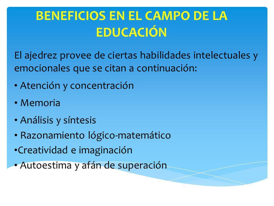 BENEFICIOS EN EL CAMPO DE LA EDUCACIÓN