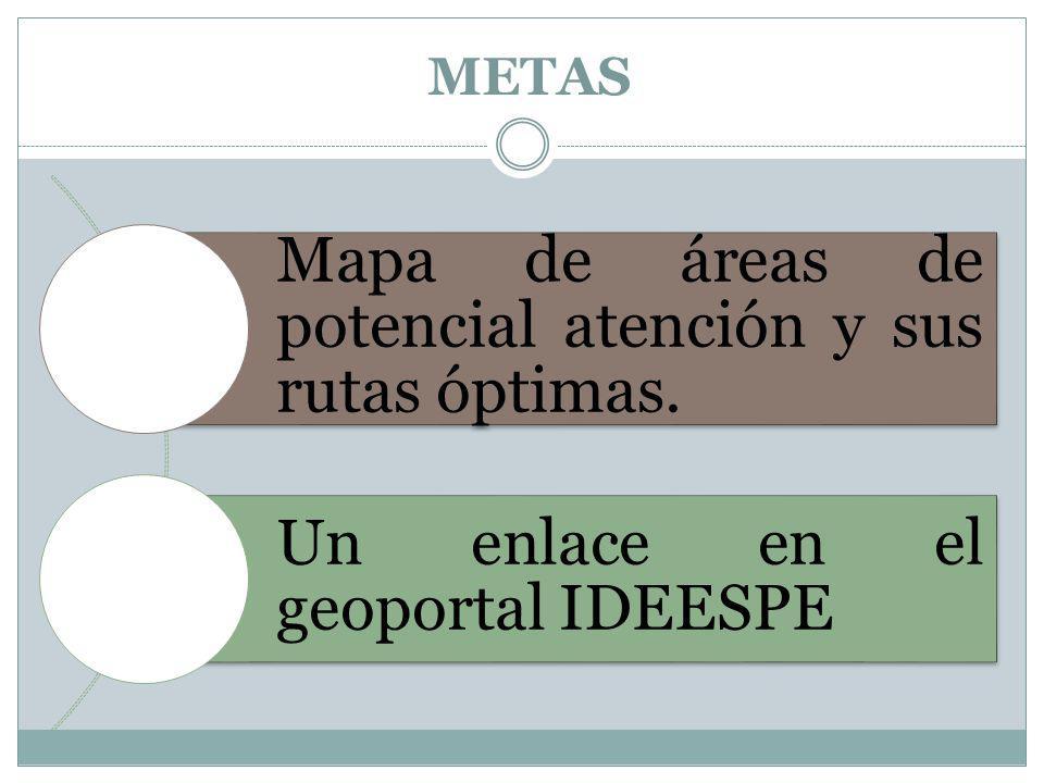 Mapa de áreas de potencial atención y sus rutas óptimas.