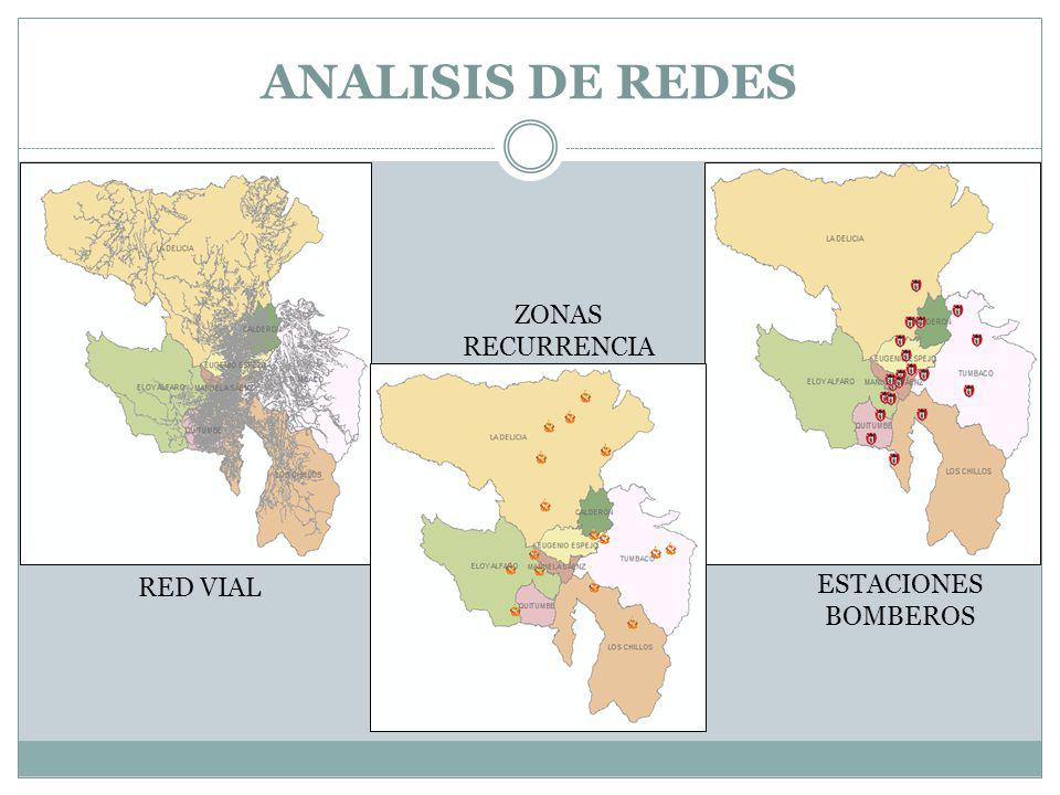 ANALISIS DE REDES ZONAS RECURRENCIA RED VIAL ESTACIONES BOMBEROS