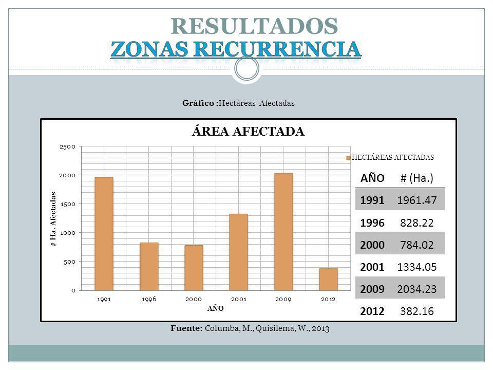 RESULTADOS Zonas recurrencia AÑO # (Ha.) 1991 1961.47 1996 828.22 2000