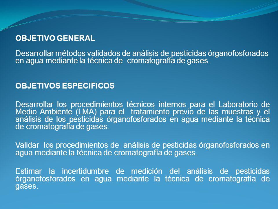 OBJETIVO GENERAL Desarrollar métodos validados de análisis de pesticidas órganofosforados en agua mediante la técnica de cromatografía de gases.