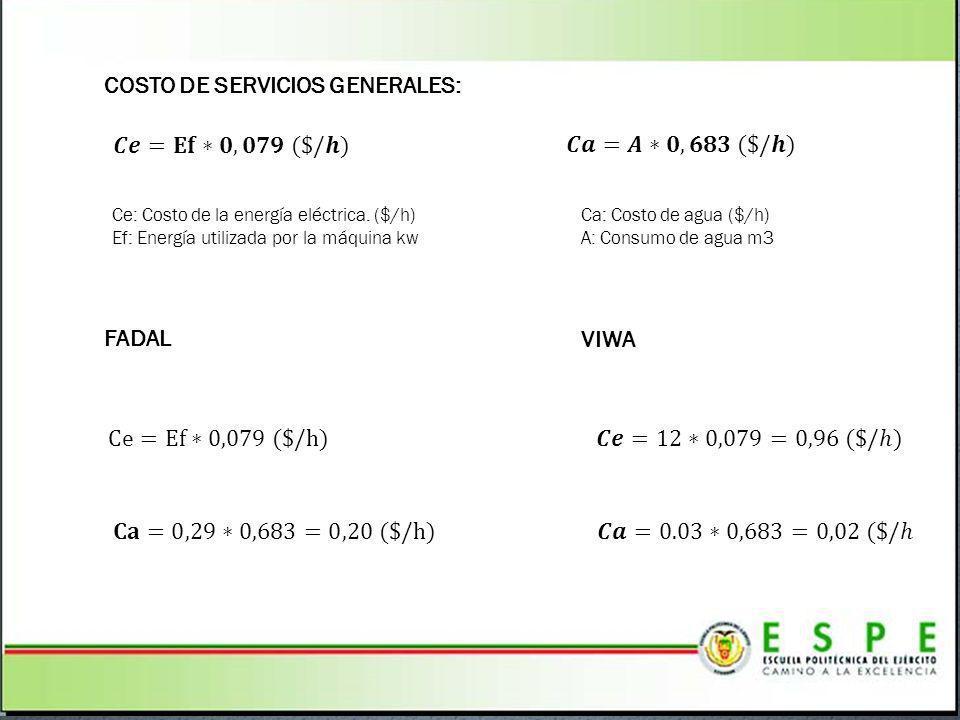COSTO DE SERVICIOS GENERALES: