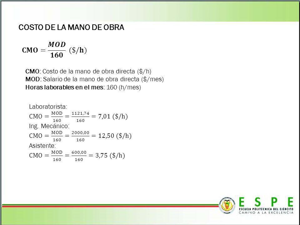 COSTO DE LA MANO DE OBRA 𝐂𝐌𝐎= 𝑴𝑶𝑫 𝟏𝟔𝟎 ($/𝐡)