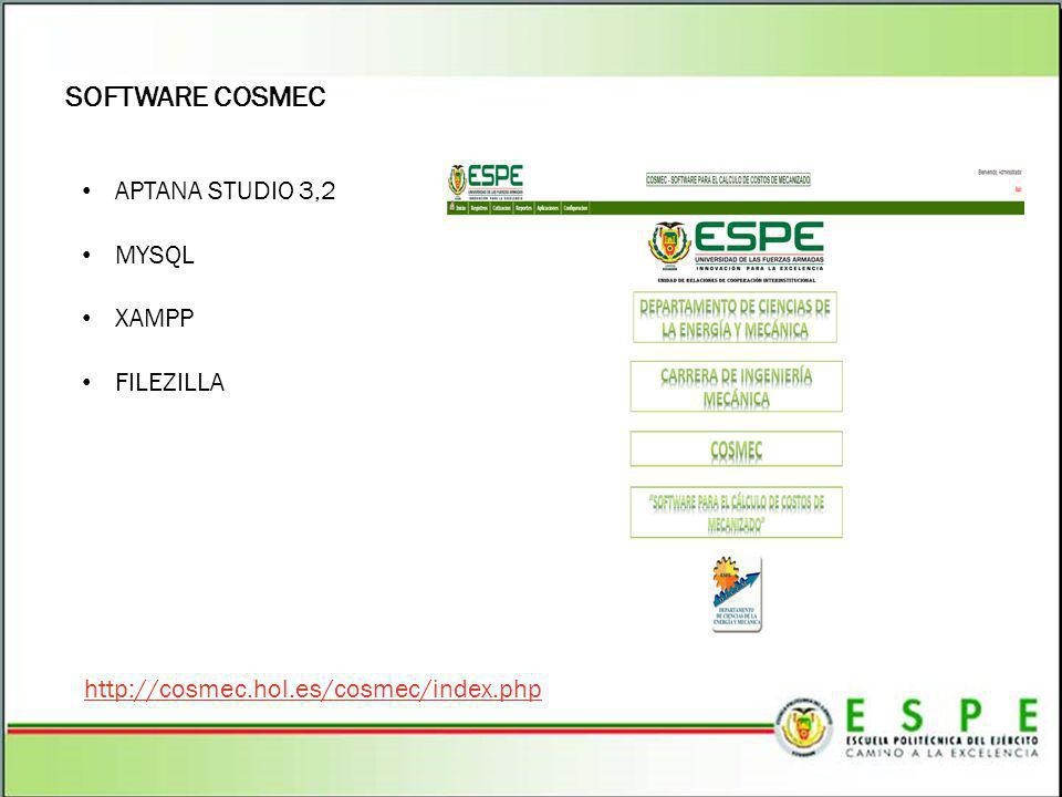 SOFTWARE COSMEC APTANA STUDIO 3,2 MYSQL XAMPP FILEZILLA