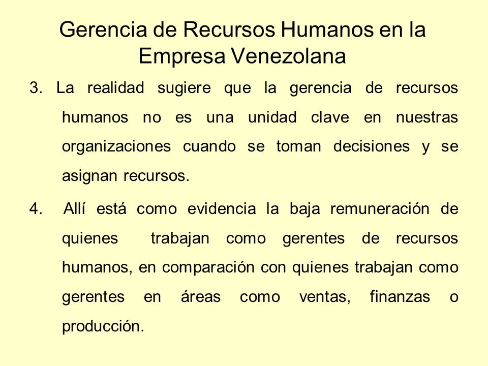 Gerencia de Recursos Humanos en la Empresa Venezolana