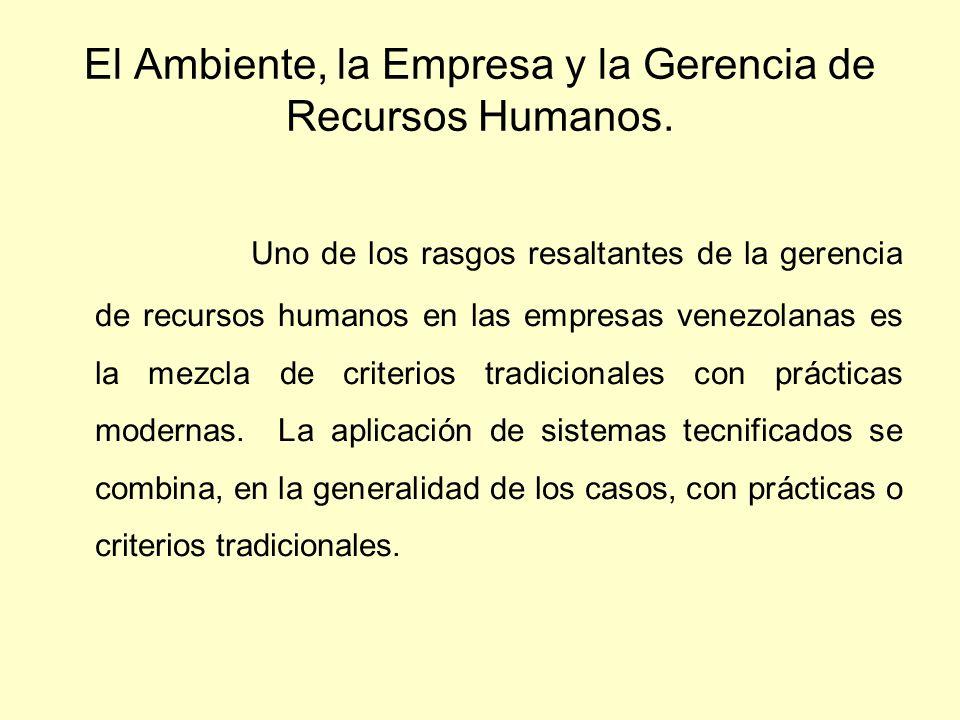 El Ambiente, la Empresa y la Gerencia de Recursos Humanos.