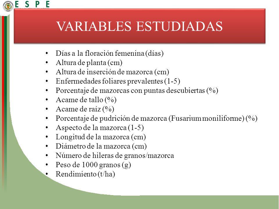 VARIABLES ESTUDIADAS Días a la floración femenina (días)