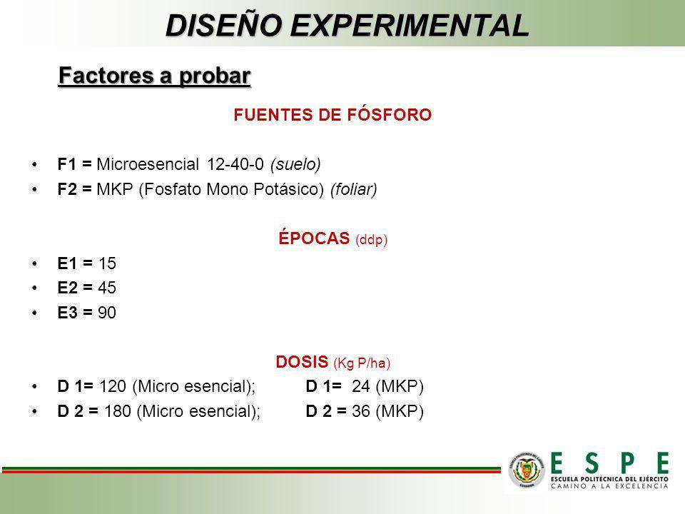 DISEÑO EXPERIMENTAL Factores a probar FUENTES DE FÓSFORO