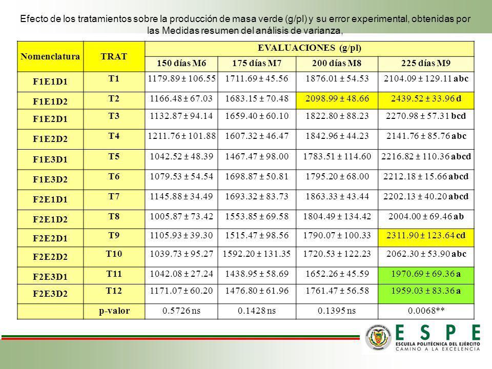 Efecto de los tratamientos sobre la producción de masa verde (g/pl) y su error experimental, obtenidas por las Medidas resumen del análisis de varianza,