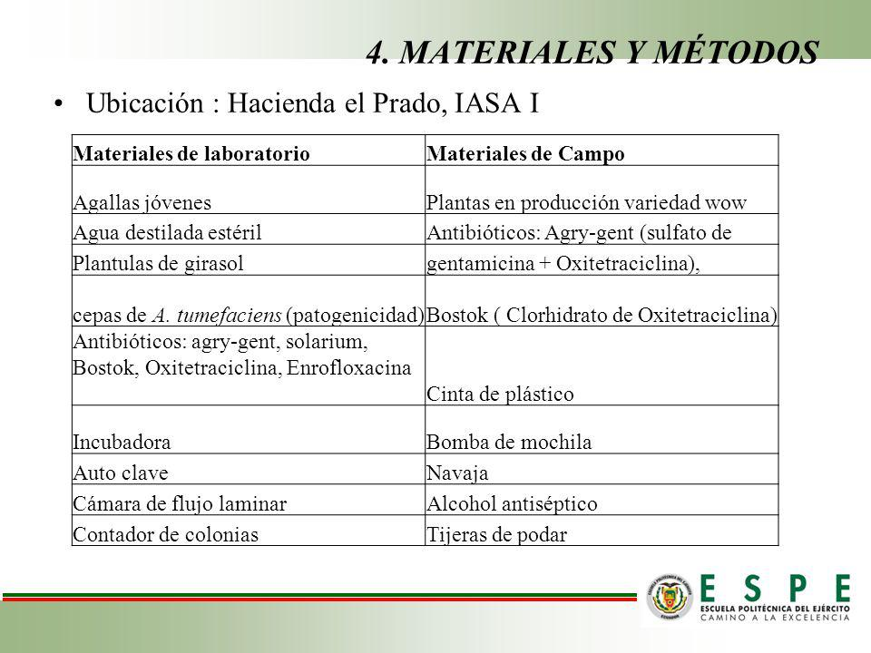 4. MATERIALES Y MÉTODOS Ubicación : Hacienda el Prado, IASA I
