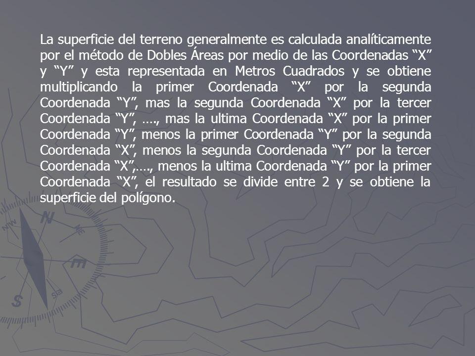 La superficie del terreno generalmente es calculada analíticamente por el método de Dobles Áreas por medio de las Coordenadas X y Y y esta representada en Metros Cuadrados y se obtiene multiplicando la primer Coordenada X por la segunda Coordenada Y , mas la segunda Coordenada X por la tercer Coordenada Y , …., mas la ultima Coordenada X por la primer Coordenada Y , menos la primer Coordenada Y por la segunda Coordenada X , menos la segunda Coordenada Y por la tercer Coordenada X ,…., menos la ultima Coordenada Y por la primer Coordenada X , el resultado se divide entre 2 y se obtiene la superficie del polígono.