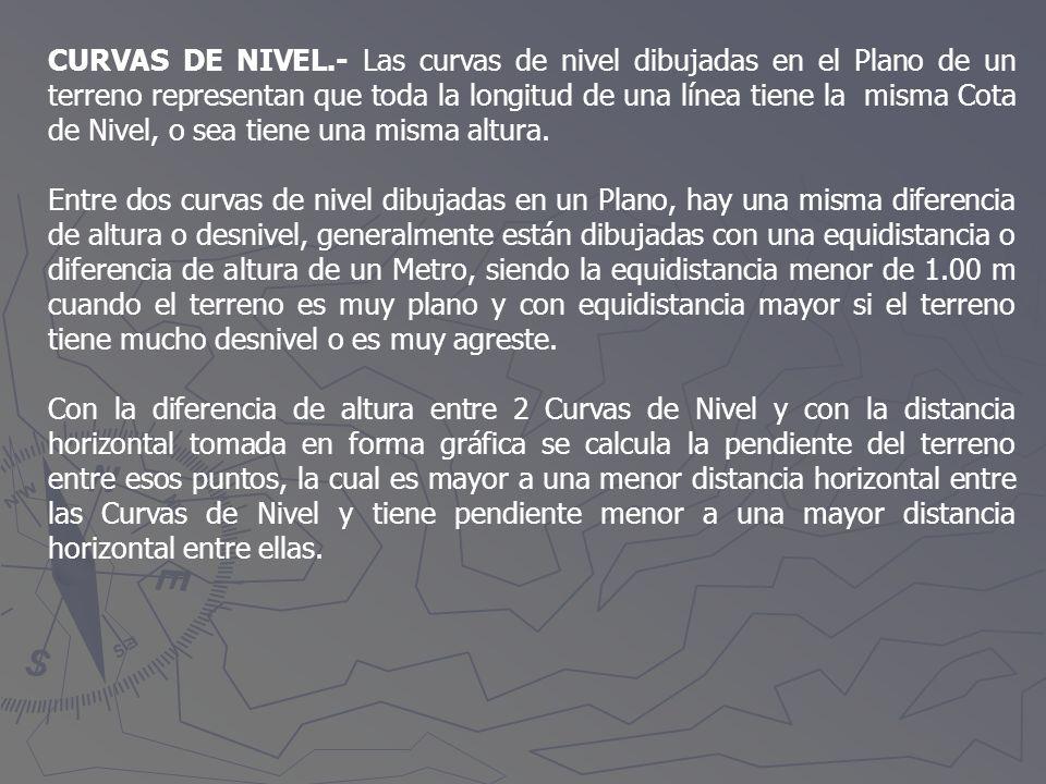 CURVAS DE NIVEL.- Las curvas de nivel dibujadas en el Plano de un terreno representan que toda la longitud de una línea tiene la misma Cota de Nivel, o sea tiene una misma altura.