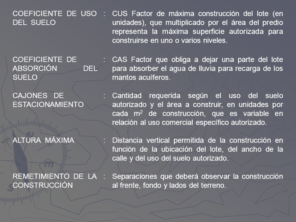 COEFICIENTE DE USODEL SUELO. :
