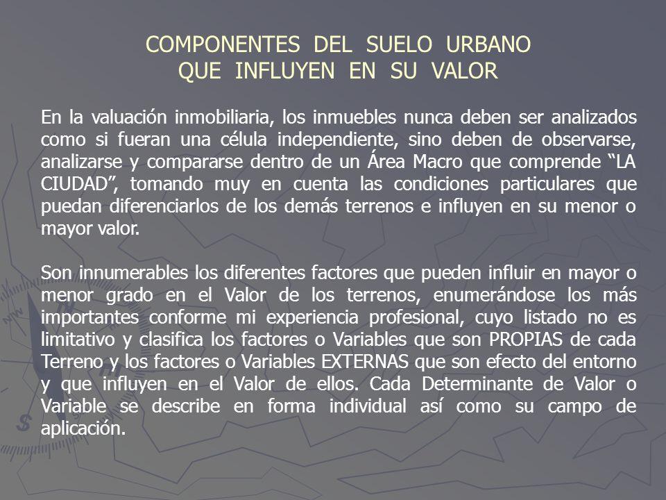 COMPONENTES DEL SUELO URBANO QUE INFLUYEN EN SU VALOR