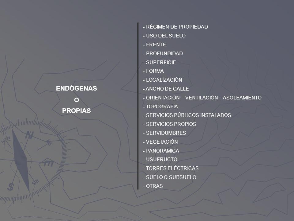 ENDÓGENAS O PROPIAS - RÉGIMEN DE PROPIEDAD - USO DEL SUELO - FRENTE