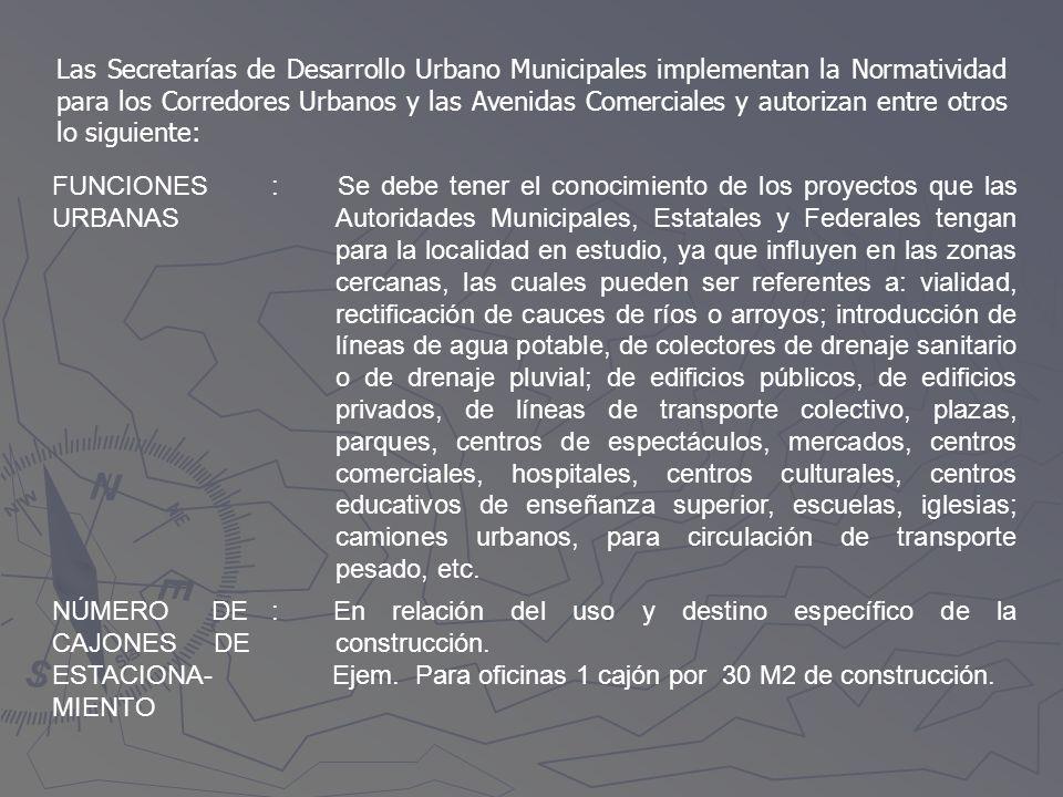 Las Secretarías de Desarrollo Urbano Municipales implementan la Normatividad para los Corredores Urbanos y las Avenidas Comerciales y autorizan entre otros lo siguiente: