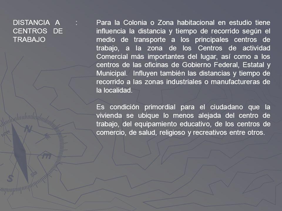 DISTANCIA A CENTROS DE TRABAJO
