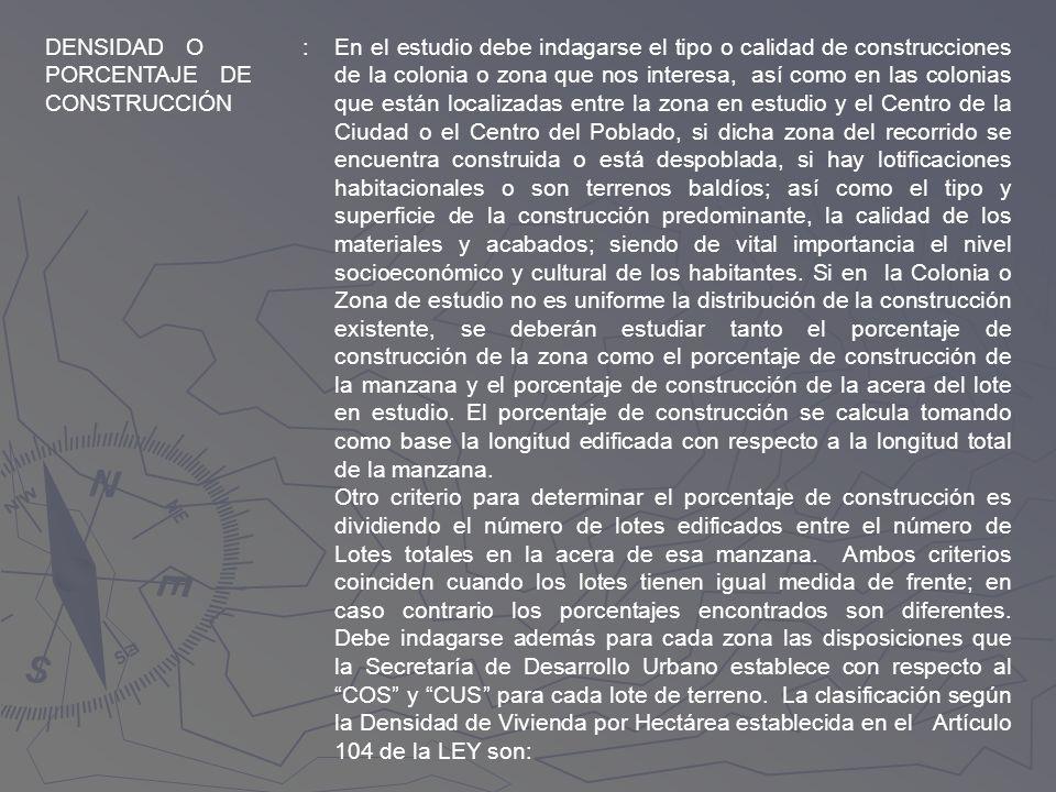 DENSIDAD O PORCENTAJE DE CONSTRUCCIÓN
