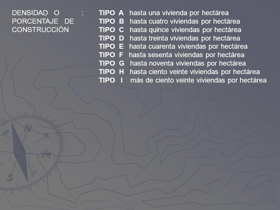 DENSIDAD O PORCENTAJE DE. CONSTRUCCIÓN. : TIPO A hasta una vivienda por hectárea. TIPO B hasta cuatro viviendas por hectárea.