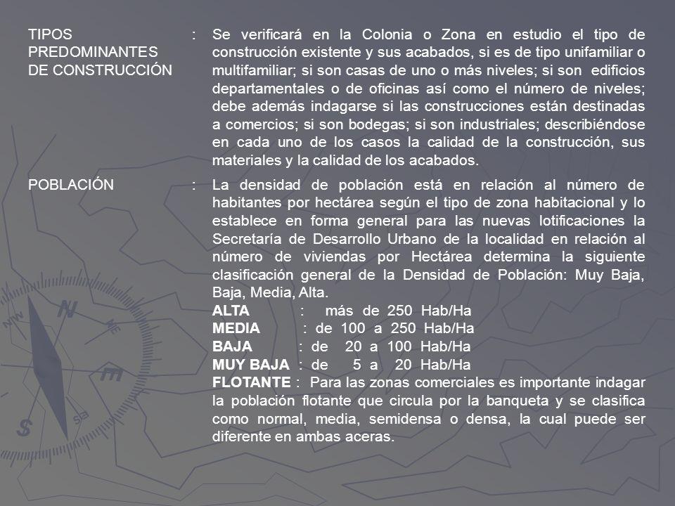 TIPOS PREDOMINANTES DE CONSTRUCCIÓN