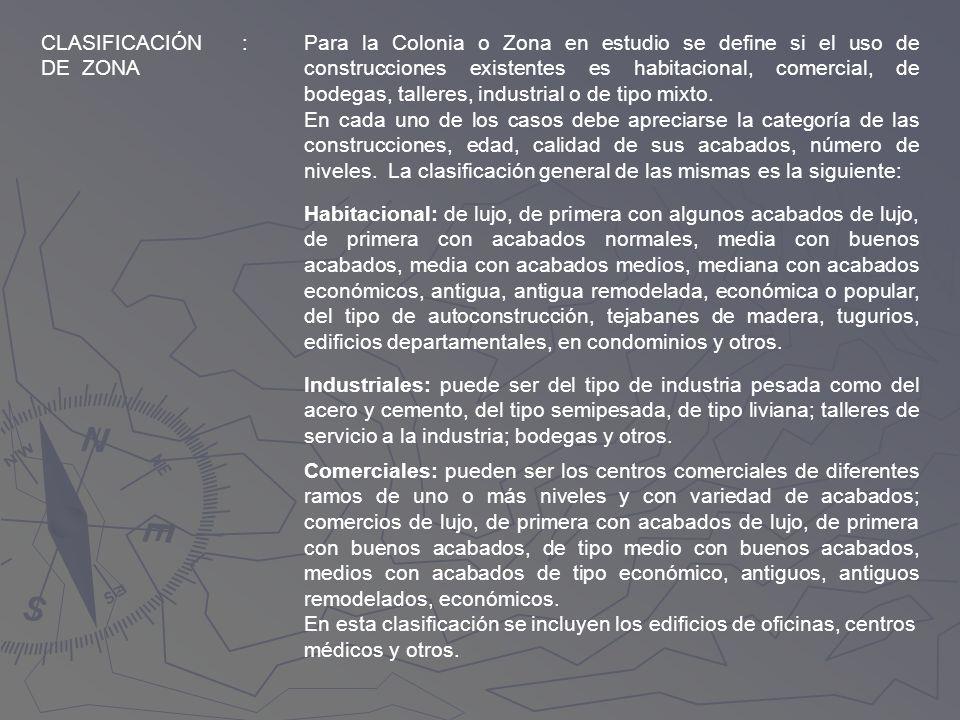 CLASIFICACIÓN DE ZONA. :