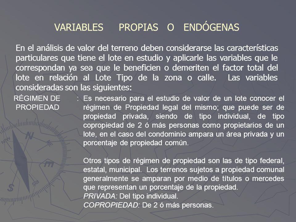 VARIABLES PROPIAS O ENDÓGENAS