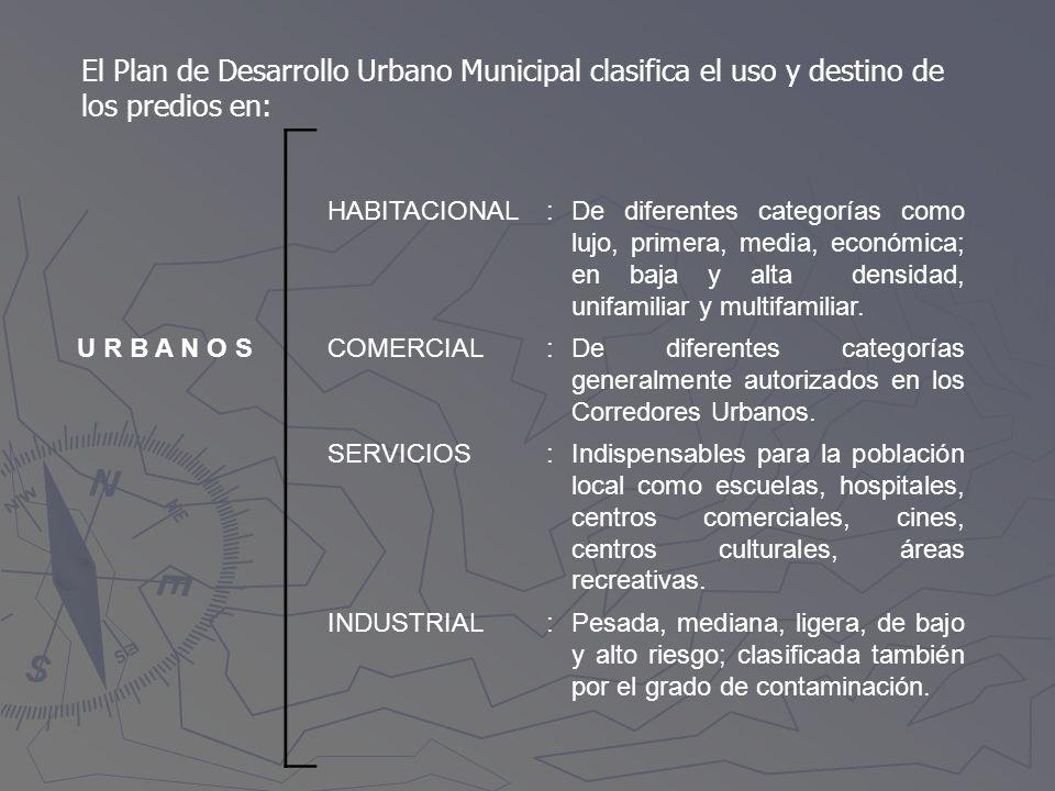 El Plan de Desarrollo Urbano Municipal clasifica el uso y destino de los predios en:
