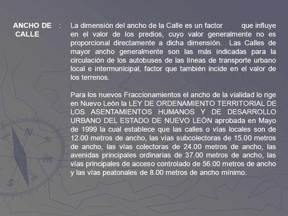 ANCHO DE CALLE. :