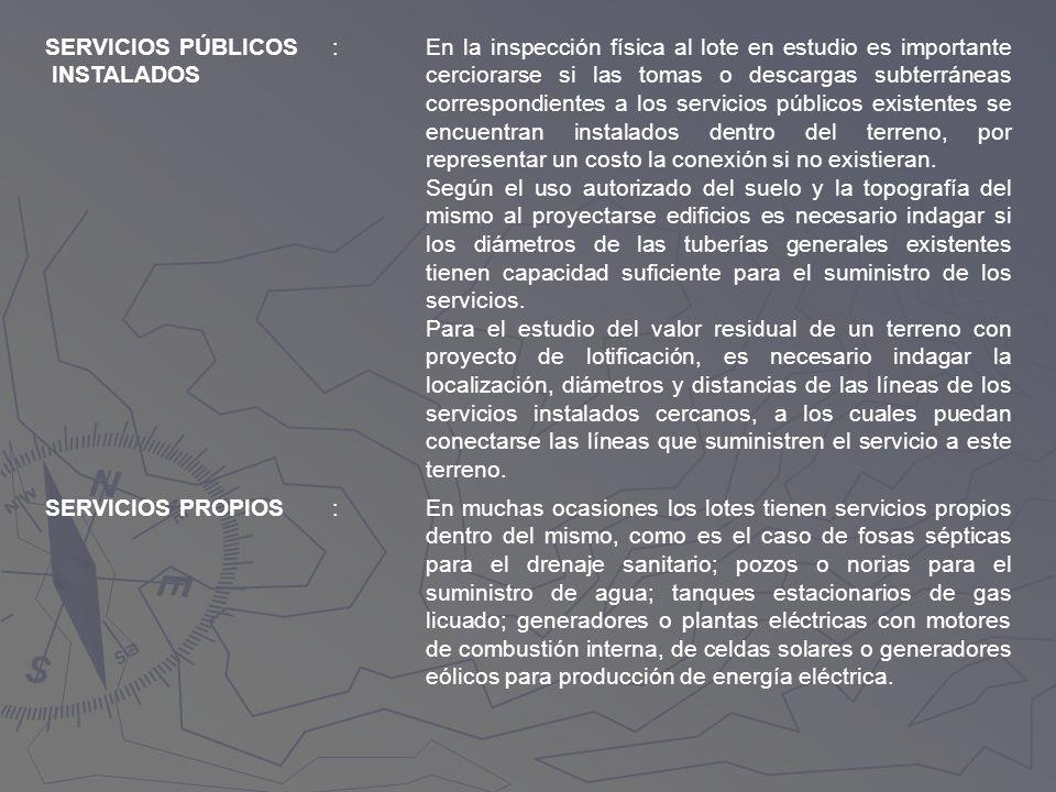 SERVICIOS PÚBLICOS INSTALADOS. :