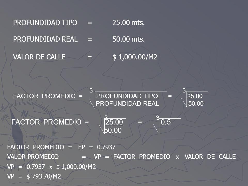 PROFUNDIDAD TIPO = 25.00 mts. PROFUNDIDAD REAL = 50.00 mts.