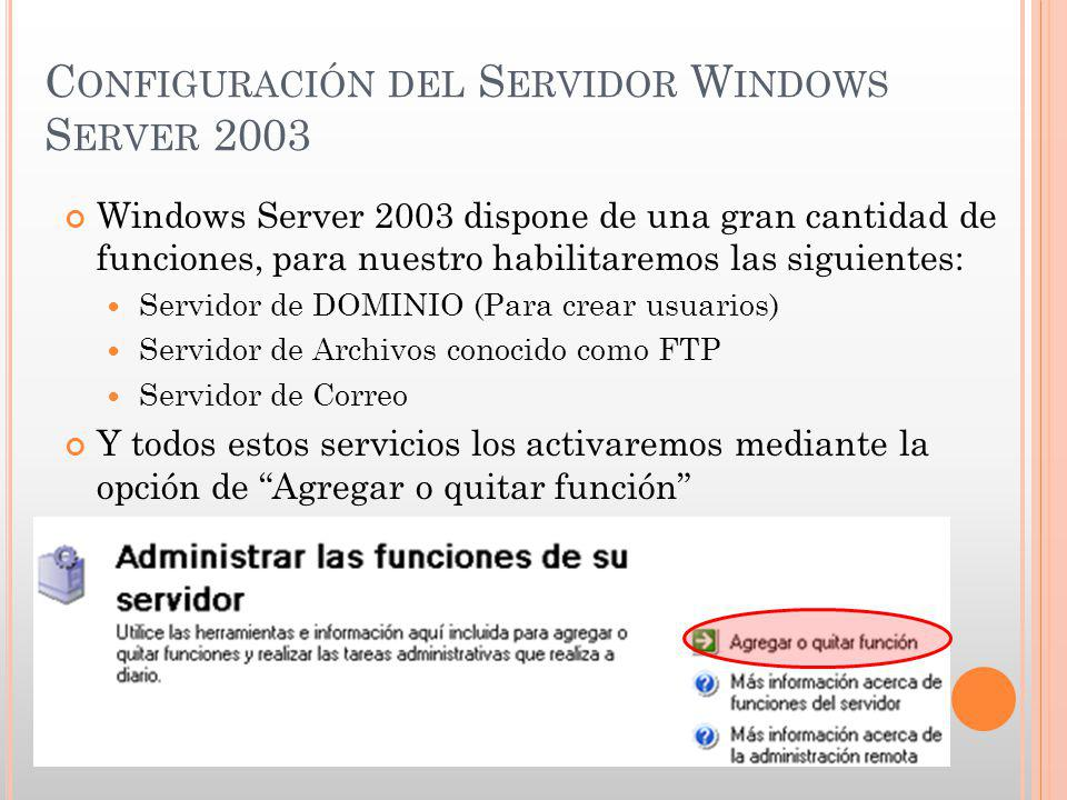 Configuración del Servidor Windows Server 2003