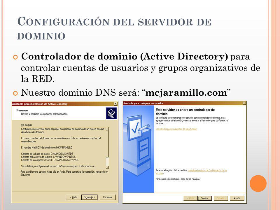 Configuración del servidor de dominio