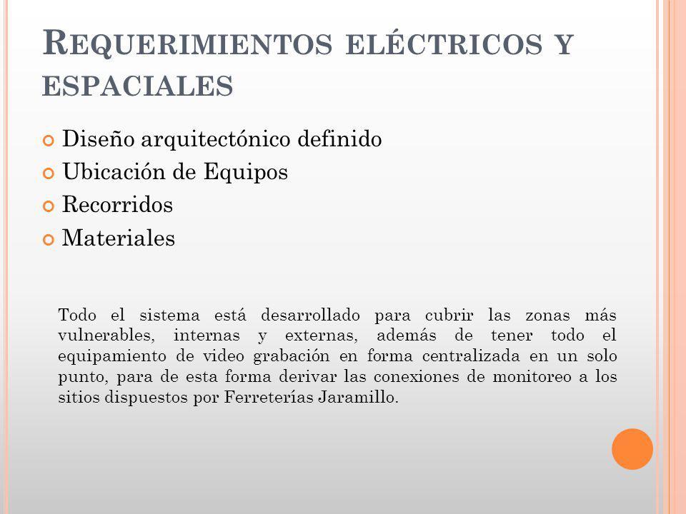 Requerimientos eléctricos y espaciales