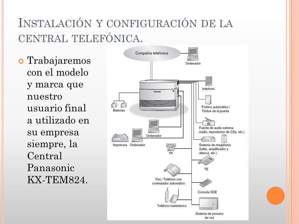 Instalación y configuración de la central telefónica.
