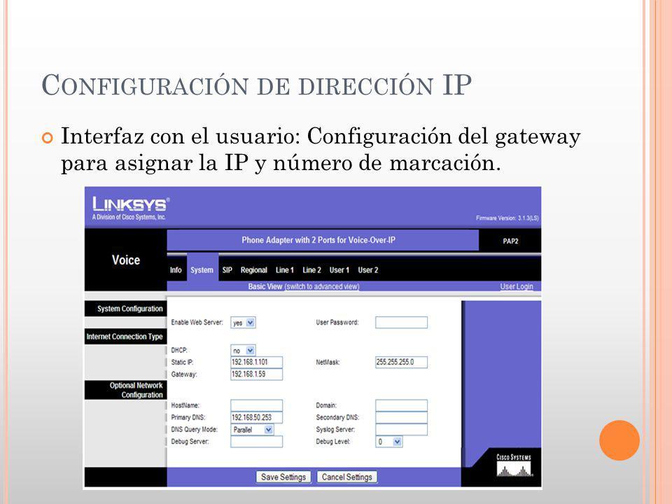 Configuración de dirección IP