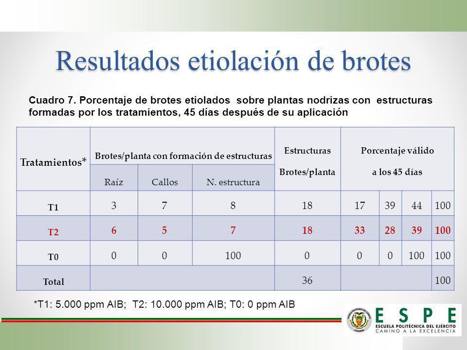 Resultados etiolación de brotes