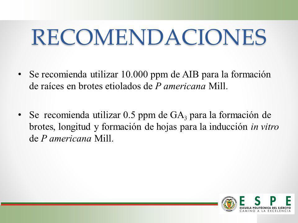 RECOMENDACIONES Se recomienda utilizar 10.000 ppm de AIB para la formación de raíces en brotes etiolados de P americana Mill.