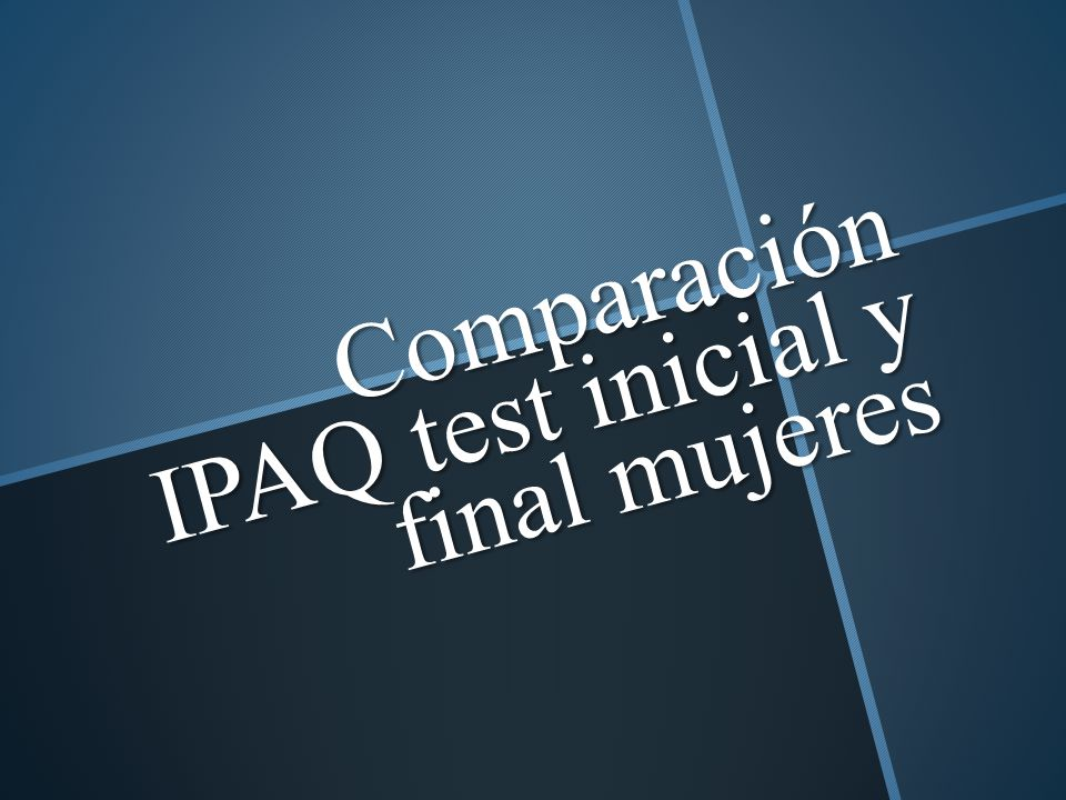 Comparación IPAQ test inicial y final mujeres