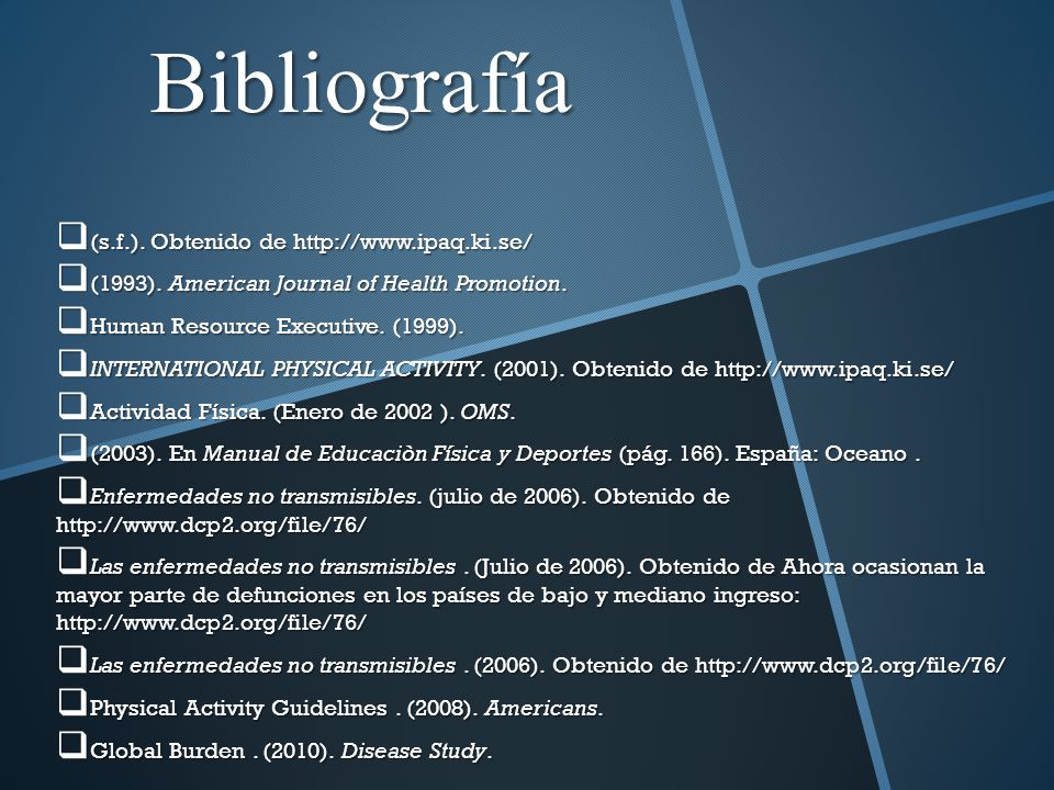 Bibliografía (s.f.). Obtenido de http://www.ipaq.ki.se/