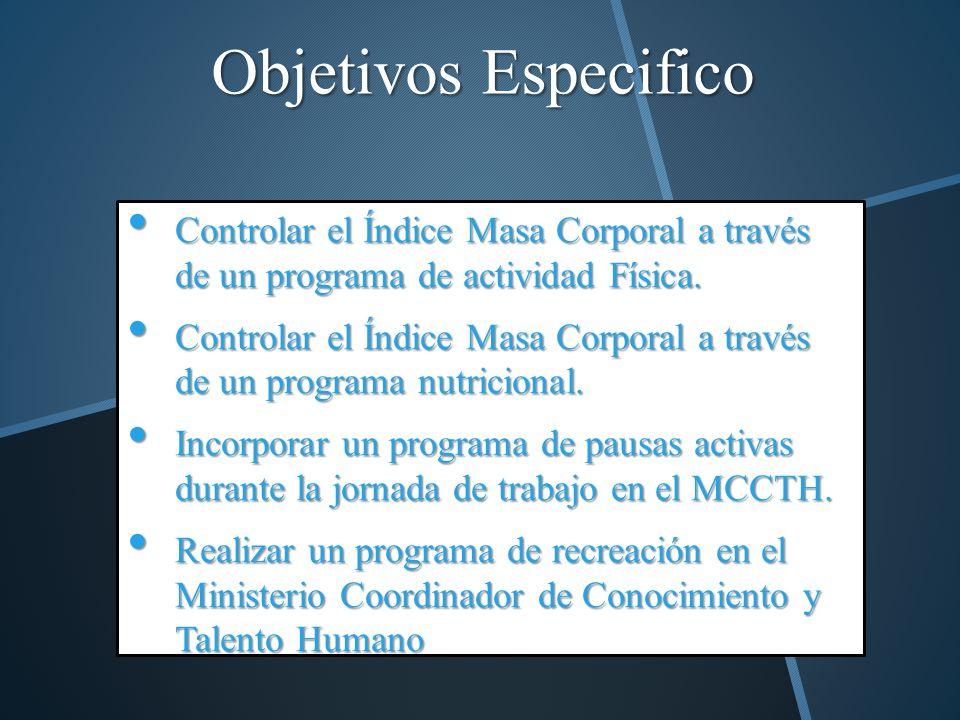 Objetivos Especifico Controlar el Índice Masa Corporal a través de un programa de actividad Física.