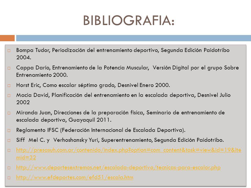 BIBLIOGRAFIA: Bompa Tudor, Periodización del entrenamiento deportivo, Segunda Edición Paidotribo 2004.