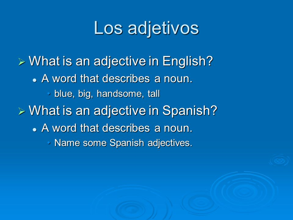 Los adjetivos What is an adjective in English