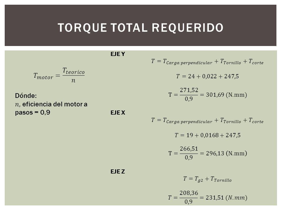 TORQUE TOTAL REQUERIDO
