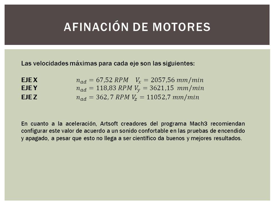 AFINACIÓN DE MOTORES Las velocidades máximas para cada eje son las siguientes: EJE X 𝑛 𝑎𝑑 =67,52 𝑅𝑃𝑀 𝑉 𝑥 =2057,56 𝑚𝑚/𝑚𝑖𝑛.
