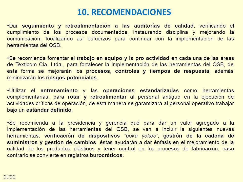 10. RECOMENDACIONES